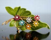 Enameled Leaf Brooch with Flowers and Pearls