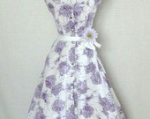 Lavender and White Floral Spring Dress  1950's