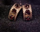 RESERVED for Carol - Victorian Garnet Cuff  Screw Back Earrings