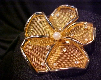 Vintage Gold Mesh Flower Pin with Rhinestones and Pearls