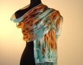 Silk Shawl Hand Painted in Turquoise and Copper