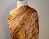 Large Silk Shawl Hand Painted in Gold, Copper, Bronze Made To Order