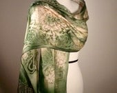 Hand Painted Silk Shawl in Jade Green and Ivory Made to Order