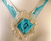 Marie Antoinette Style Ribbon Choker with Vintage Lace and Hand Painted Silk Rose