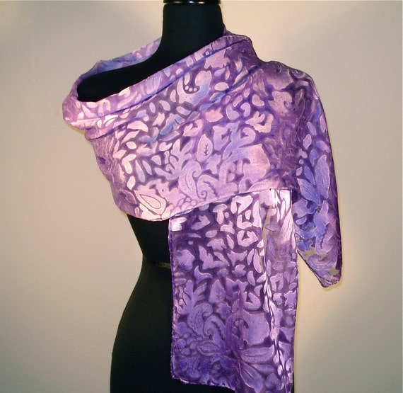 Silk Devore Wrap or Long Scarf in an Ombre of Violet