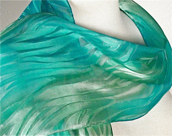 Silk Waves Scarf Hand Painted in Turquoise Blue and Pale Seafoam Green-ready to ship