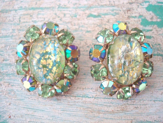 S A L E - Easter Parade - Vintage Aqua and Gold Crackled Earrings