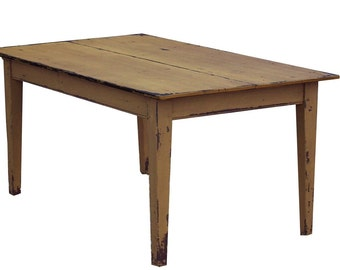 Pine farm table primitive painted country farmhouse kitchen  reproduction rustic  furniture early American style