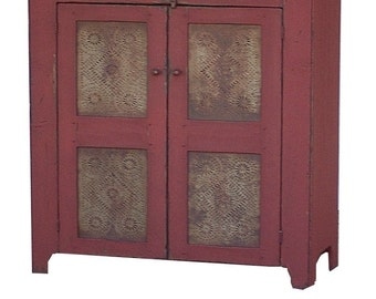 Primitive furniture pie safe rustic painted country jelly cupboard cabinet farmhouse colonial  Early American reproduction