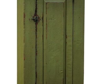 Primitive painted reproduction chimney cupboard cabinet country furniture for an Early American rustic farmhouse kitchen