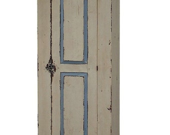 Primitive farmhouse  Chimney cupboard painted rustic country Early American antique reproduction furniture cabinet