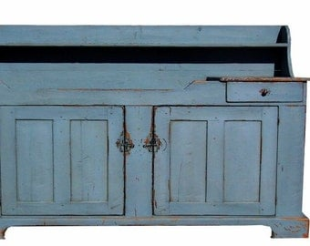 Primitive farmhouse dry sink cabinet  painted rustic country reproduction colonial cupboard furniture