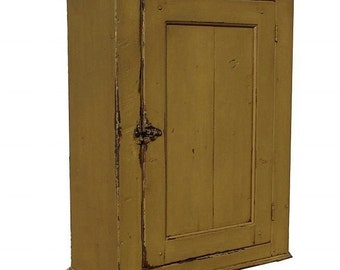 Primitive painted wall cupboard hanging cabinet Colonial  Early American country farmhouse furniture