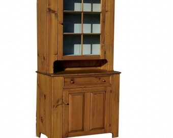 Early American reproduction hutch step back china stepback cupboard cabinet primitive country furniture