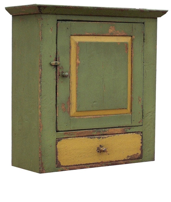 Primitive farmhouse wall cabinet cupboard furniture painted country decor Early American reproduction