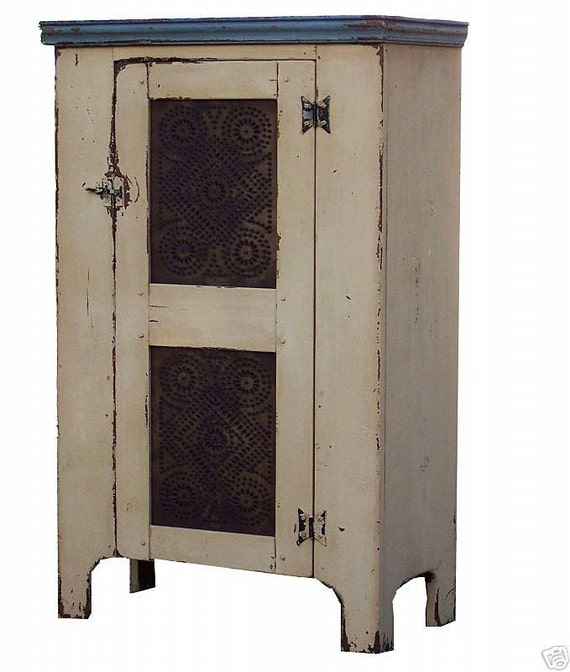 Primitive pie safe cupboard painted country cabinet pine farmhouse Colonial reproduction furniture