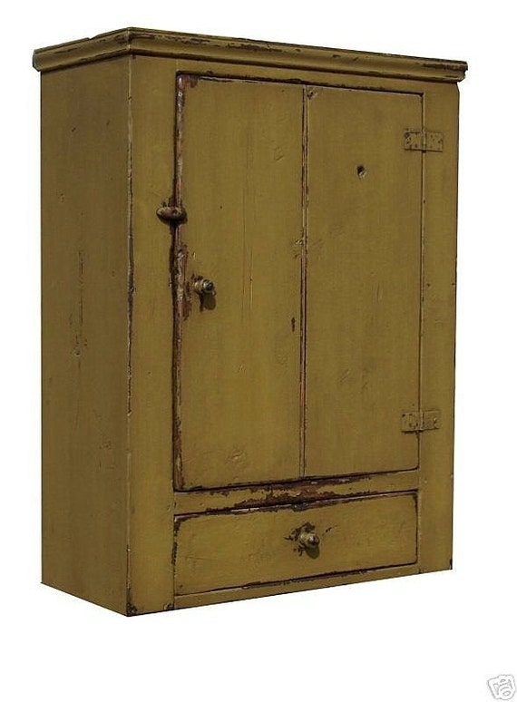 Primitive wall cupboard cabinet painted country pine early American Colonial furniture