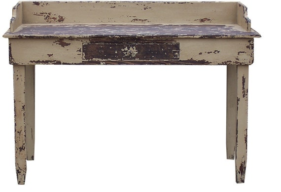 Primitive painted country farmhouse desk table Early American farm reproduction