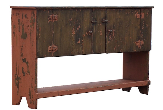 Primitive painted huntboard table country farmhouse farm rustic sideboard sofa hall piece