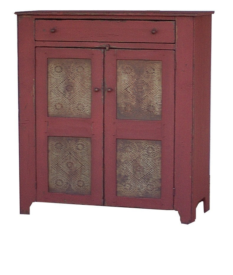 Primitive furniture pie safe rustic painted country jelly for Reproduction kitchen cabinets