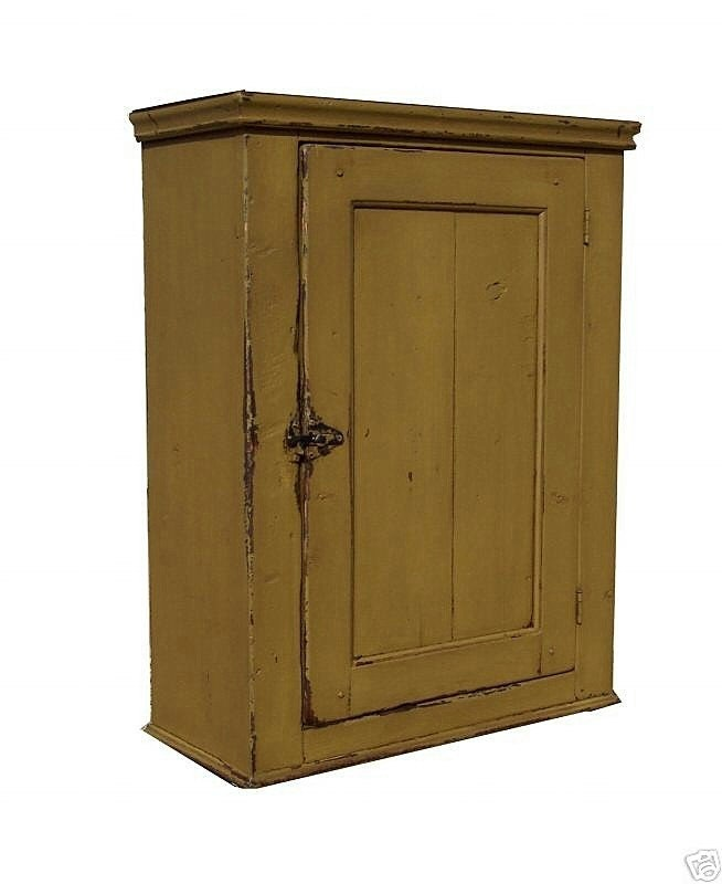 Primitive painted wall cupboard hanging cabinet colonial for Hanging kitchen cabinets