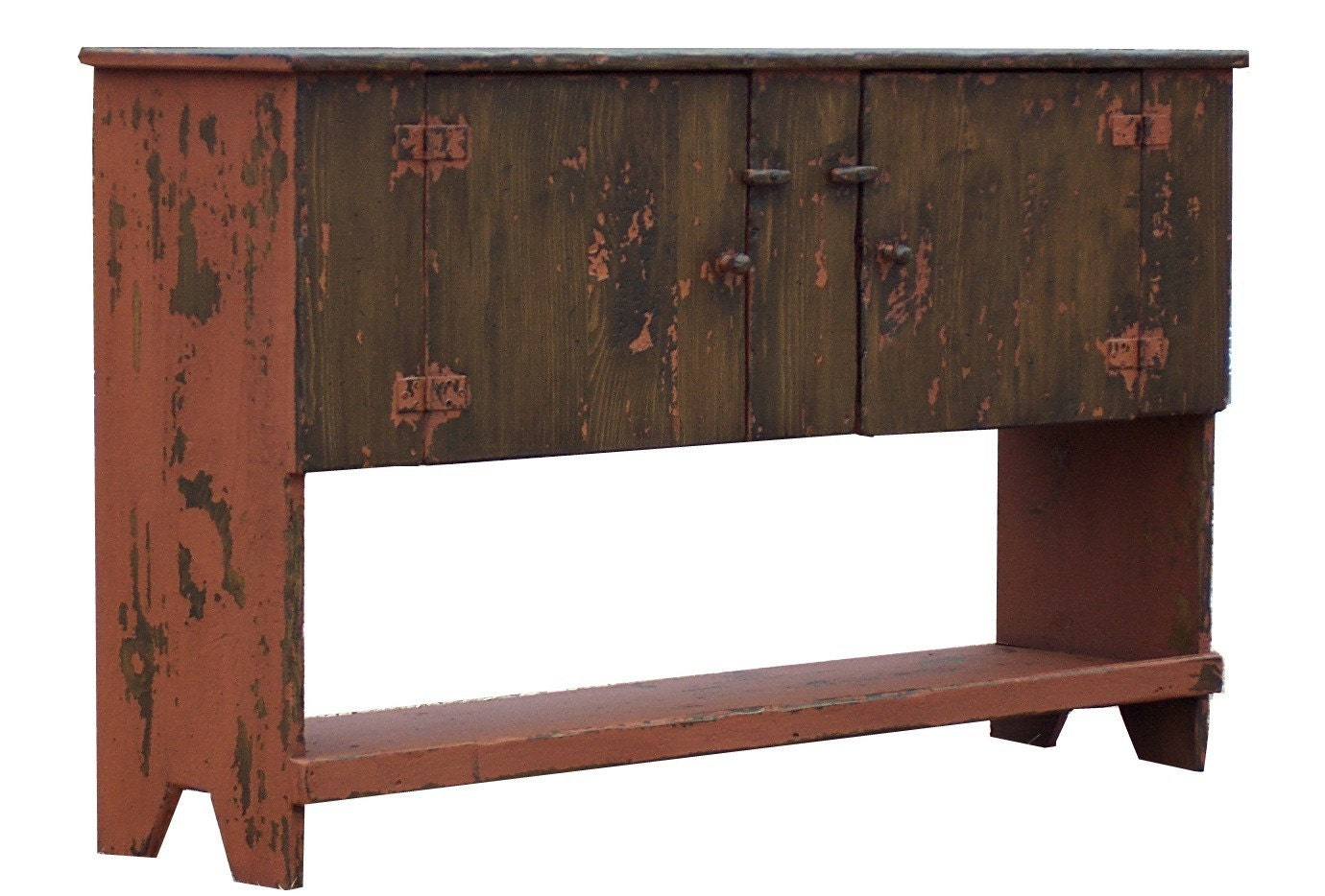 Primitive painted huntboard sideboard buffet table country for Painted buffet sideboard
