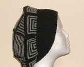 CASHMERE Black and grey 'Patchwork' creation  jaunty hand knitted beret  one of a kind