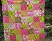 56X64 Custom Order Patchwork and Minky Blanket or Quilt You Choose Fabrics