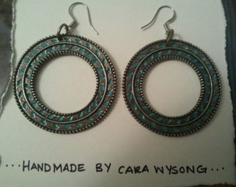 bronze and turquoise circle dangles
