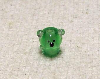 SALE  - Green Glass Koala Bear Bead - 14 mm