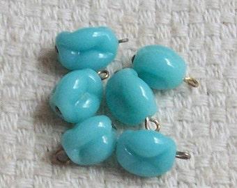 Vintage Glass Japanese Pinced Seafoam Beads - Set of 6