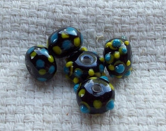 SALE - 14 x 10 mm Glass Black, Yellow, and Blue Rondelles/Beads - Set of 5