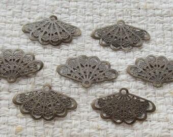 SALE - Antiqued Bronze Fan Connectors - Set of 12
