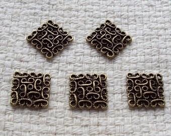 SALE - Antiqued Bronze Pendant Squares - Set of 5