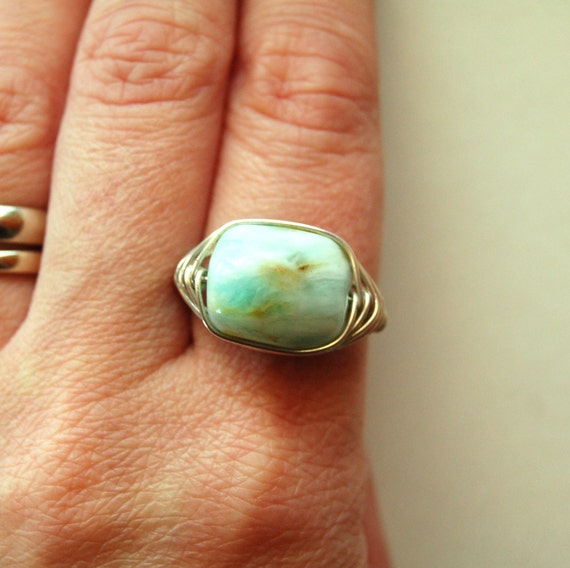 Single Stone Ring - Silver - Peruvian Opal - Size 7 - One of a Kind
