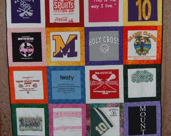 Tshirt Quilt - CUSTOM ORDERS - Extra Long Twin  (24 squares)