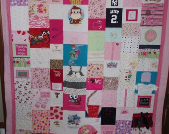 Double/Full size Quilt made from your baby clothes - CUSTOM ORDERS (plain fabric borders)