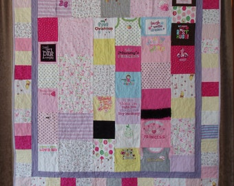 Small Throw size Patchwork Quilt made from baby clothes- CUSTOM ORDERS