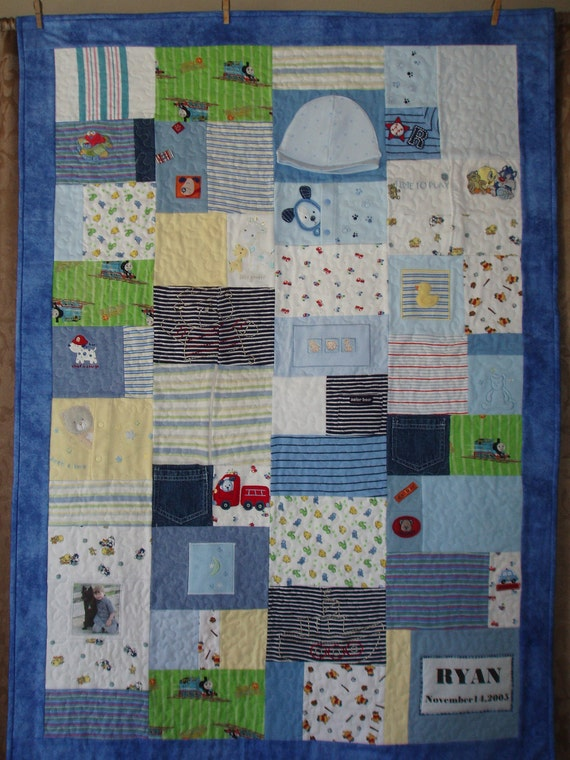 CUSTOM ORDERS -Small throw size Patchwork quilt made from baby clothes