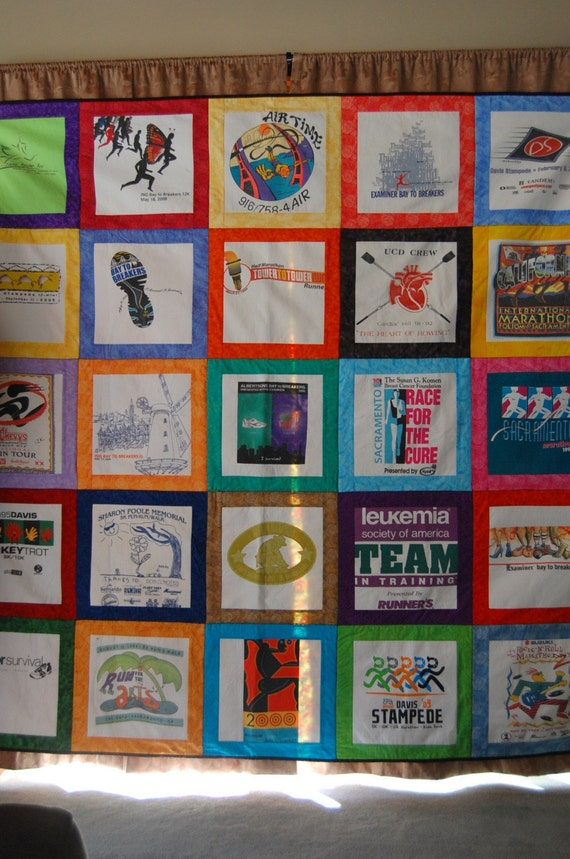Tshirt Quilt Custom Orders 25 Squares Full Double Size