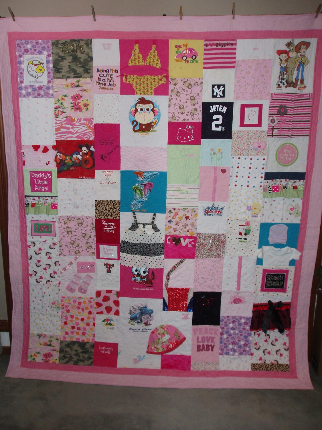 Double full size quilt made from your baby clothes custom