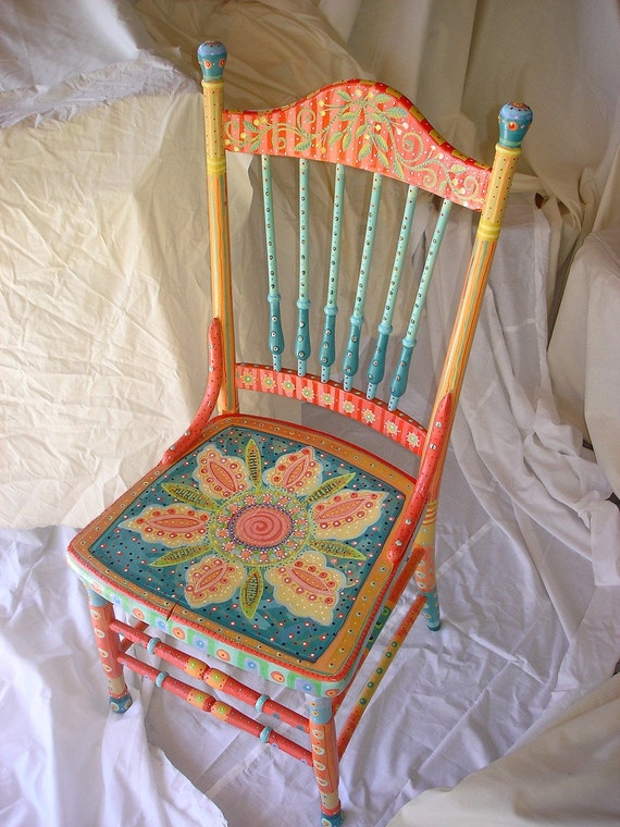 Beautiful Handpainted Antique Chair