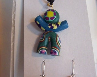 clay kid necklace and earring set