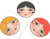 Craft doll faces Pack  of 12 SEW IN Matryoshka doll faces - Anoushka doll face