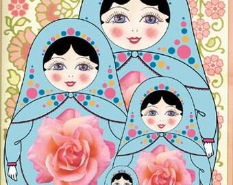 """Nursery Decor, Matryoshka Art Print, Russian Doll Art, Kid's Wall Art, 5"""" x 7 """" Cute Art Print"""