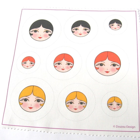 Make Your Own Doll Face Covered Buttons (Set of 9)