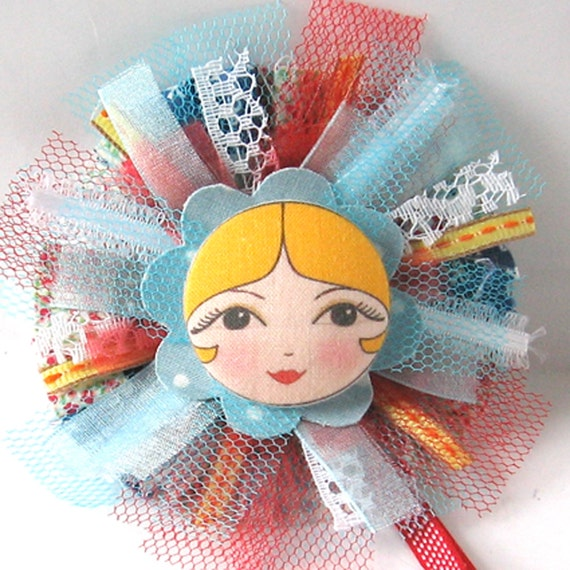 Fabric Flower Brooch, Art Doll Brooch, Textile Pin, Button Art, Unusual Cloth Brooch