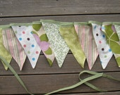 SALE Fabric Flags - Ready To Ship -a sustainable decoration  for your wedding birthday celebration nursery