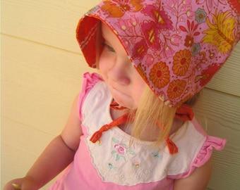 Reversible Cotton Voile Sun  Bonnet - a sun hat for babies toddlers and children