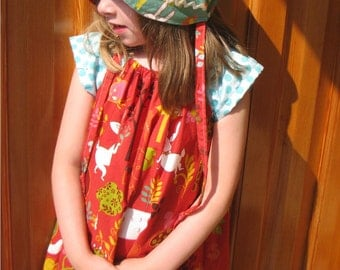 Peasant Dress - Red Woodland-  size 5 to 6 years Ready to Ship